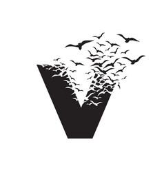 Letter v with effect destruction dispersion vector