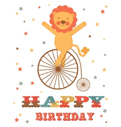 Lion birthday card vector image vector image