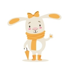 Little girly cute white pet bunny in orange autumn vector