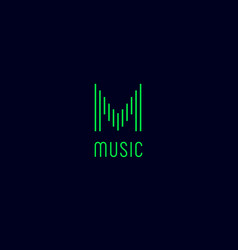 M monogram music logo vector