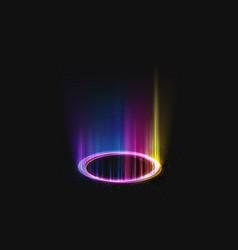 Magic shining portal with rainbow light effect vector