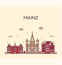 mainz skyline city germany linear style vector image