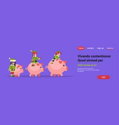 mix race elf team riding pigs merry christmas vector image