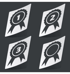 Monochrome awards sticker set vector