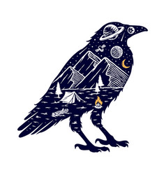 Mountain and crow silhouette vector
