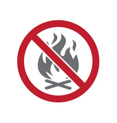 No fire allowed sign on white background for vector