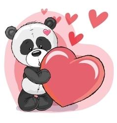 Panda with heart vector