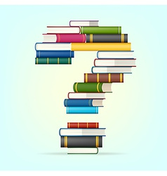 Question from stacks of multi colored books vector