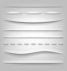 Realistic dividers of cut paper vector