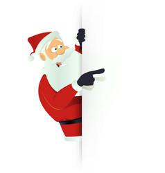 santa pointing white blank sign vector image