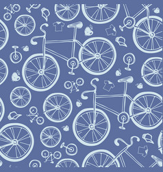 seamless blue bicycles pattern vector image
