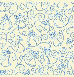 seamless pattern cute cartoon cats curls lines vector image