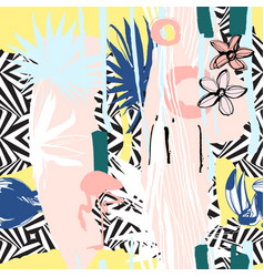 seamless pattern hand drawn tropical palm vector image