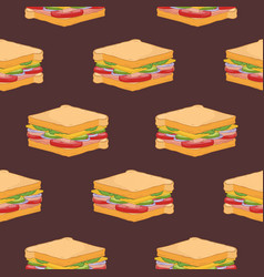 seamless pattern with sandwiches on dark vector image