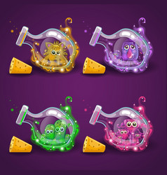 set bottle with monster and magic smoke vector image