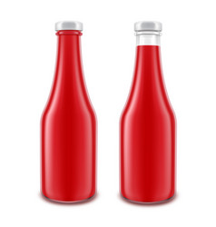 set of blank glass red tomato ketchup vector image