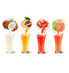 set of fruit juice splash in a glass coconut vector image