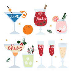 Set of hand drawn alcoholic drinks cocktails with vector