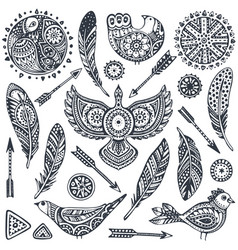 Set of hand drawn ethnic elements birds feathers vector