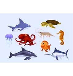 Set of stylized cartoon underwater animals vector