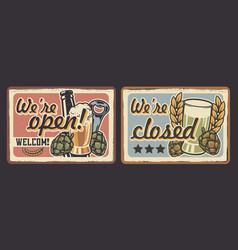 set vintage signage for cafe vector image