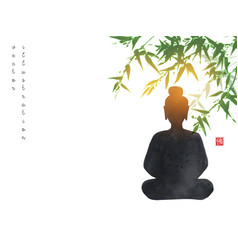 Silhouette buddha sitting under bamboo tree vector