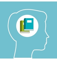 Silhouette head boy learning education online vector
