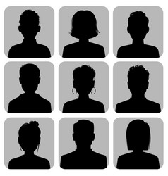 silhouette heads male and female head silhouettes vector image
