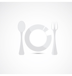 Silhouette of plate fork and spoon vector