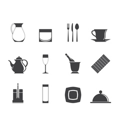 Silhouette restaurant and bar icons vector