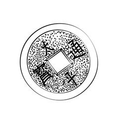 Sketch chinese coin vector