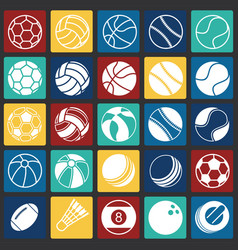 Sport ball icons set on color squares background vector