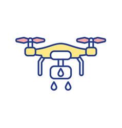 Spraying drone rgb color icon vector