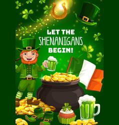 st patricks day symbols shenanigans leprechaun vector image