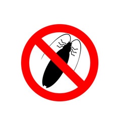 Stop cockroach red prohibitory road sign ban vector