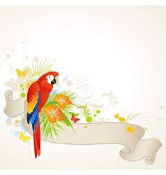 summer banner with floral ornament and parrot vector image