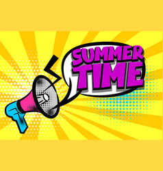 Summer time comic text pop art colored bubble vector