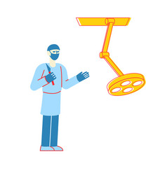 surgeon character with scalpel prepare to make vector image
