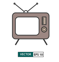television tv icon colour style eps 10 vector image