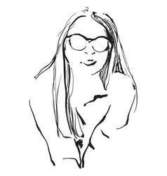 The girl in sunglasses vector