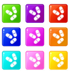 Three pills icons 9 set vector