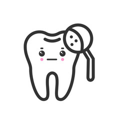 Tooth with a magnifying glass with emotional face vector