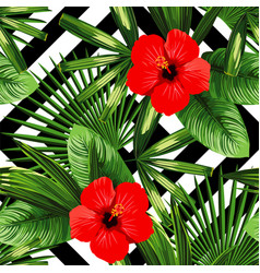 tropical flowers and leaves pattern black and vector image