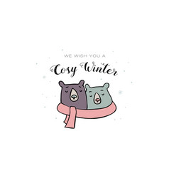 two bears wrapped with one scarf winter time vector image