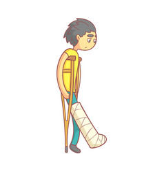 Unhappy young man with dark hair on crutches with vector