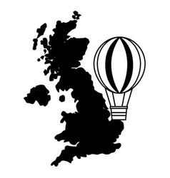 united kingdom map hot air balloon vector image
