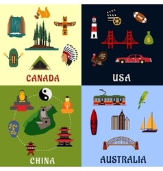 USA Canada China Australia travel icons vector