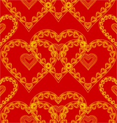 Valentines day seamless texture of gold hearts vector image