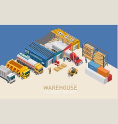 Warehouse writing near storage facility vector