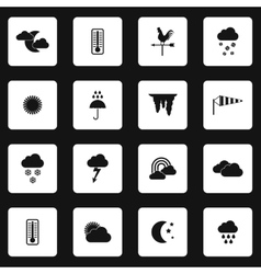 Weather icons set simple styl vector image